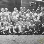 Pollock Pines School in 1937. Harry Reece, Principal, far left back row. Ruth Baumhoff, primary teacher, fouth from right in back row (picture courtesy of Esther Reece)